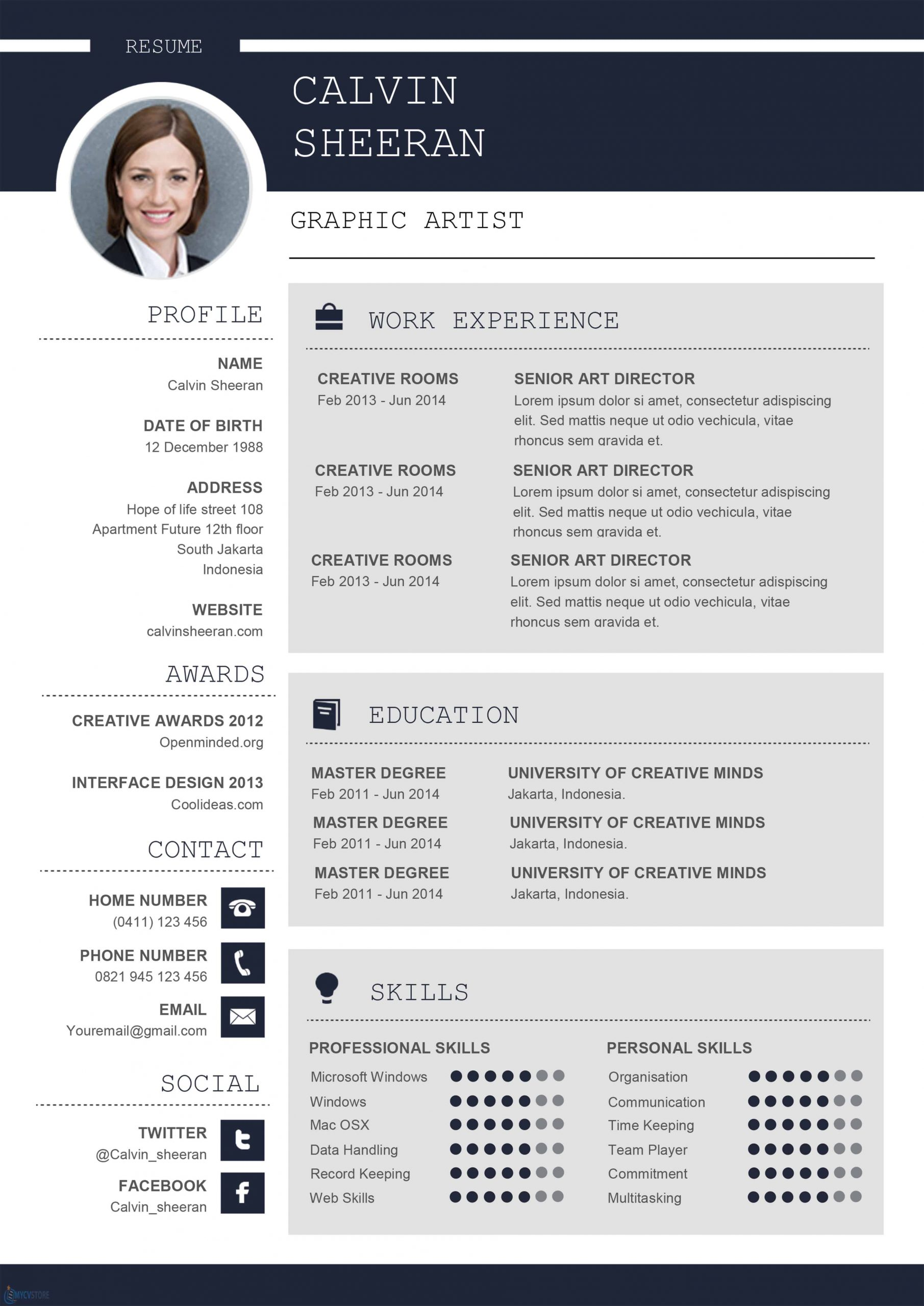 Professional Cv Ms Word Template Download For Word