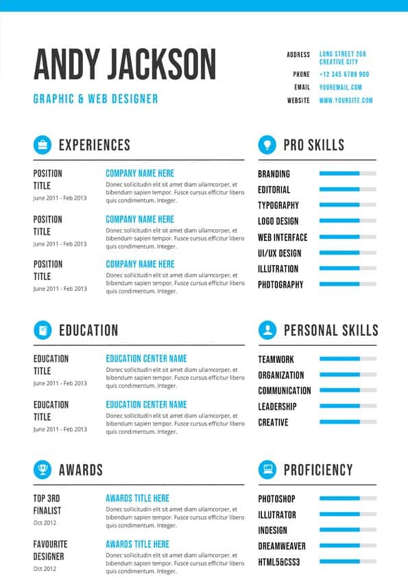 professional  u0026 clean cv template