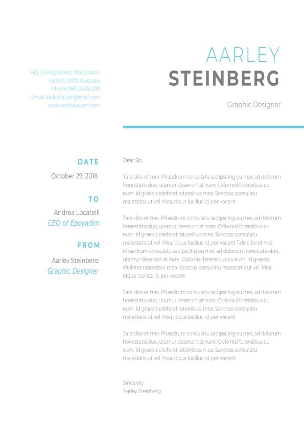 Clean Minimalist Cover Letter  Downloadable Cover Letter