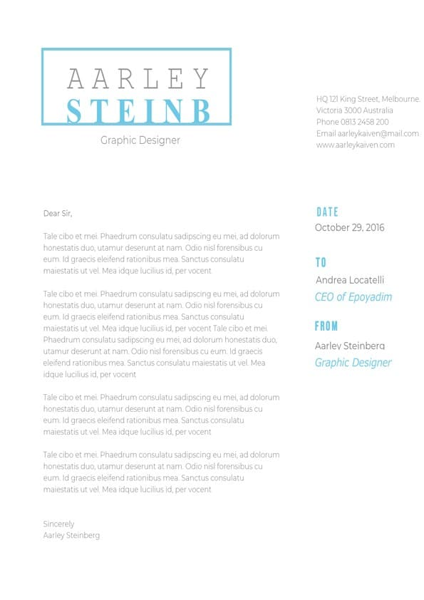 Modern Minimalist Cover Letter Downloadable Cover Letter Template