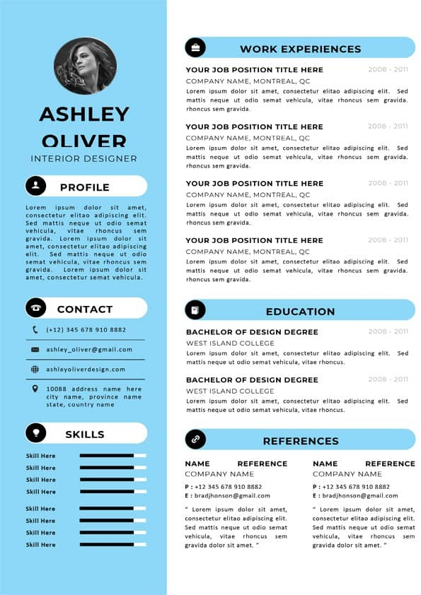 Interior Designer CV Template - Editable Downloadable CV Word