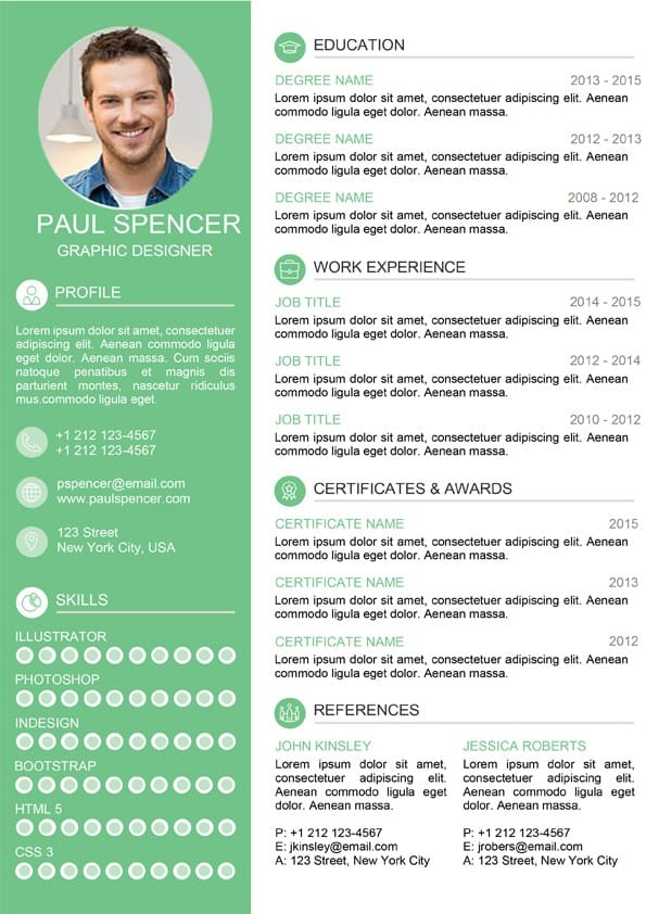 green modern resume template