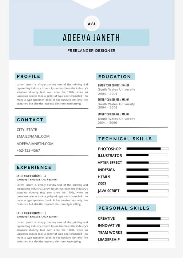 Freelancer Resume Template