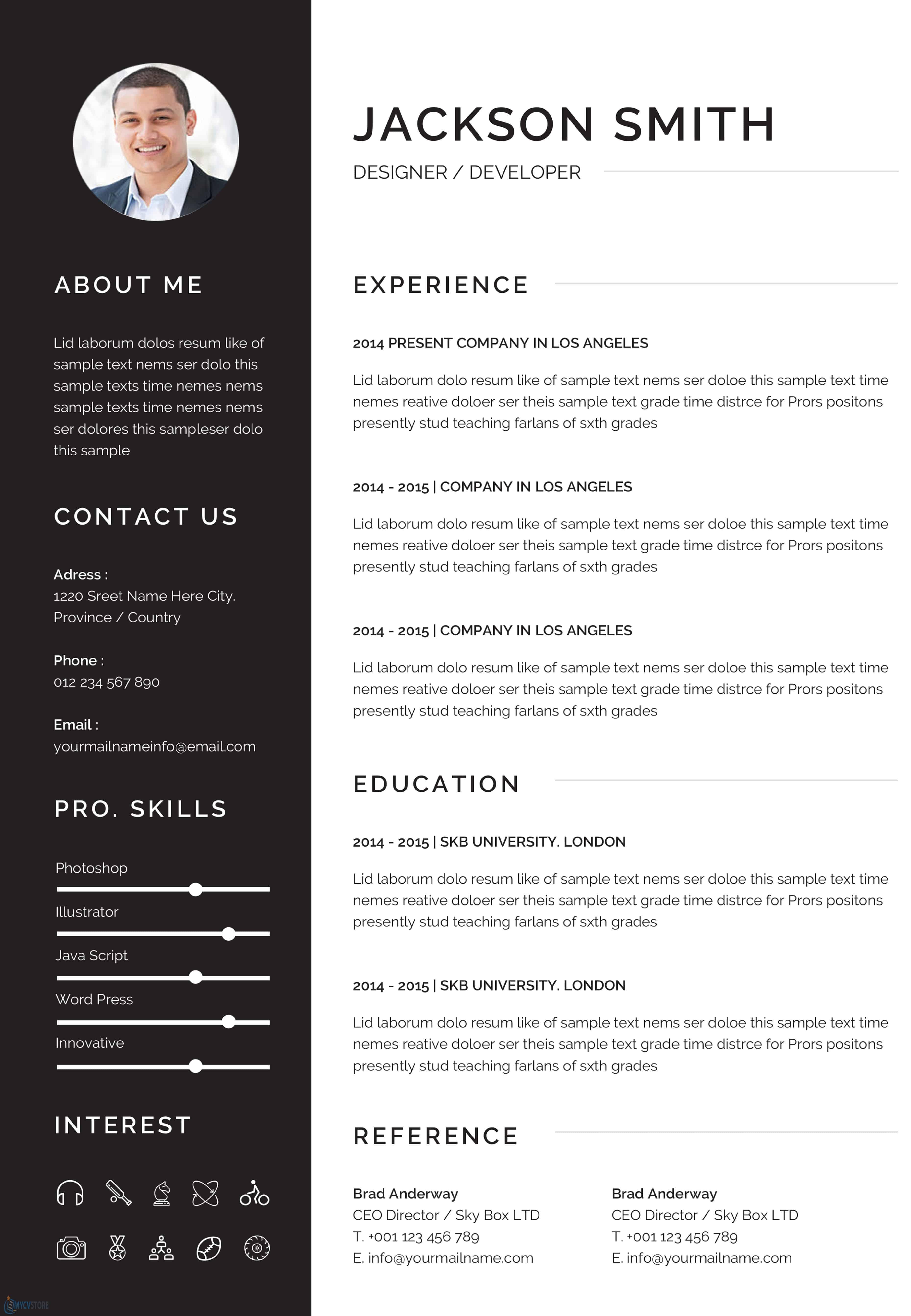 Resume Template - Editable Downloadable CV Word