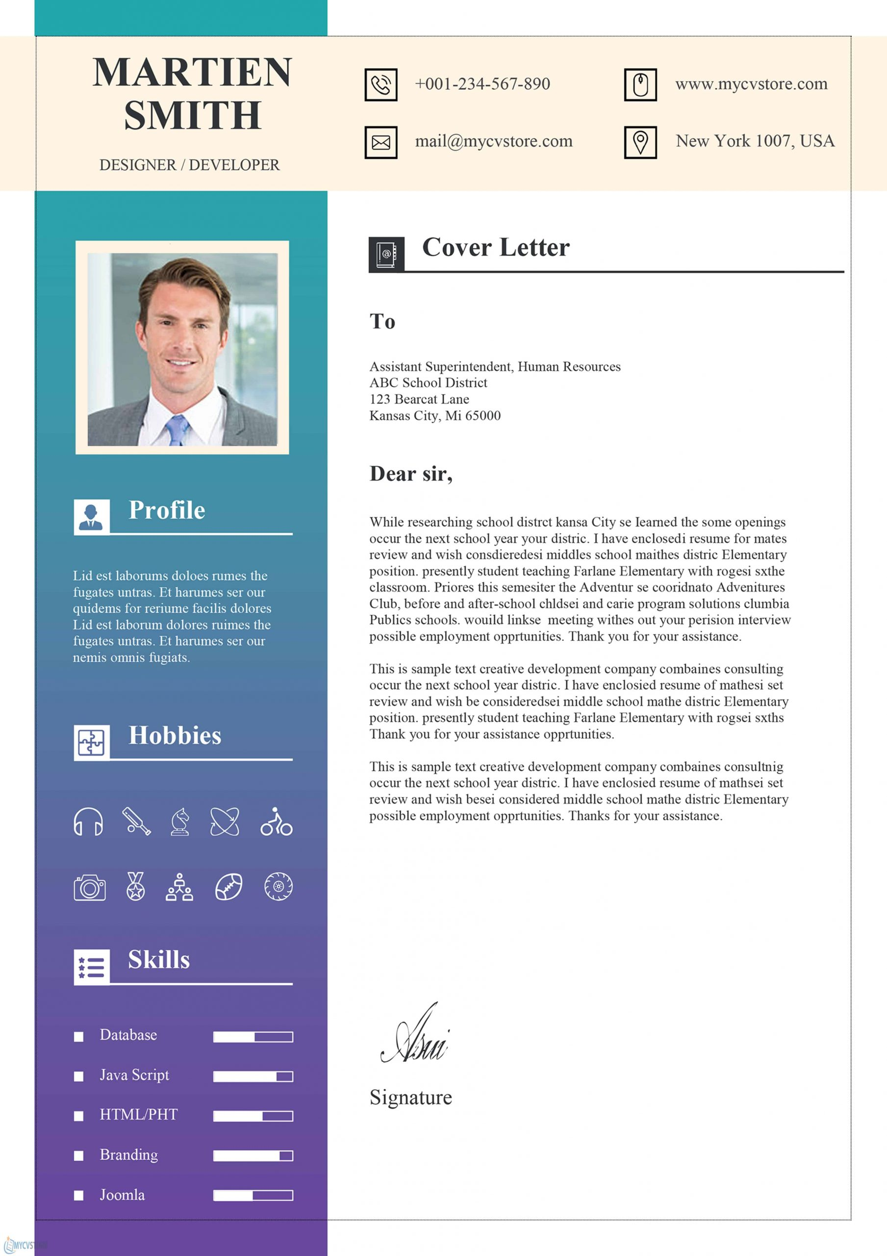 Cover Letter Design Template from www.mycvstore.com