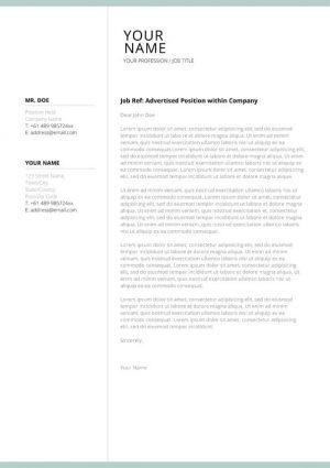 Lebenslauf Cover Letter Template