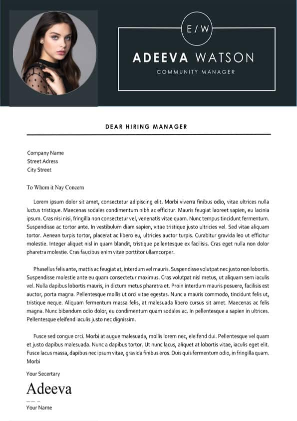 Munity Manager Cover Letter