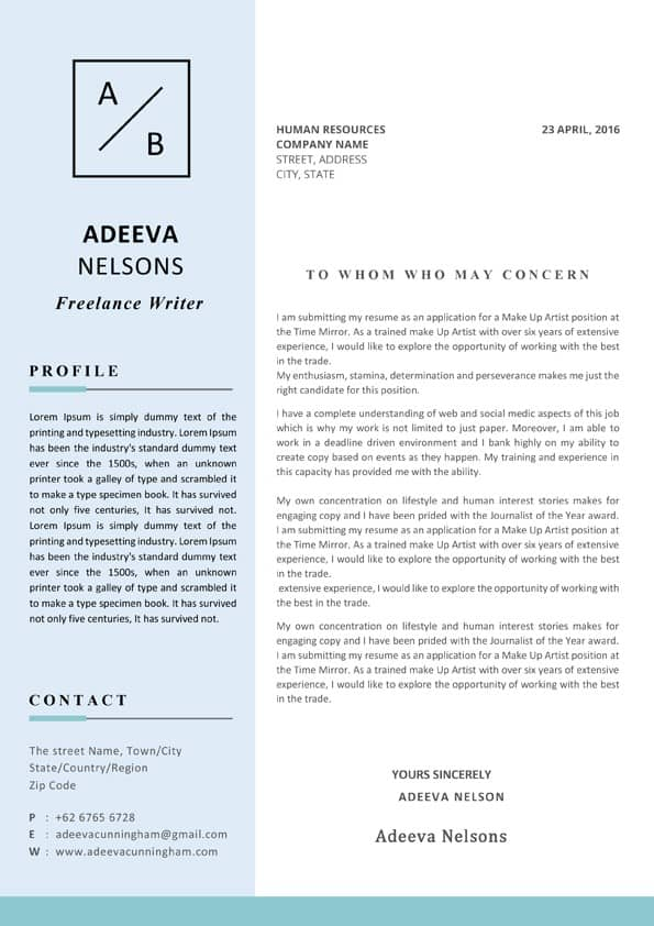 Simple Cover Letter Design