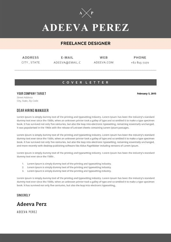 Designer Cover Letter Sample - Downloadable Word Templates