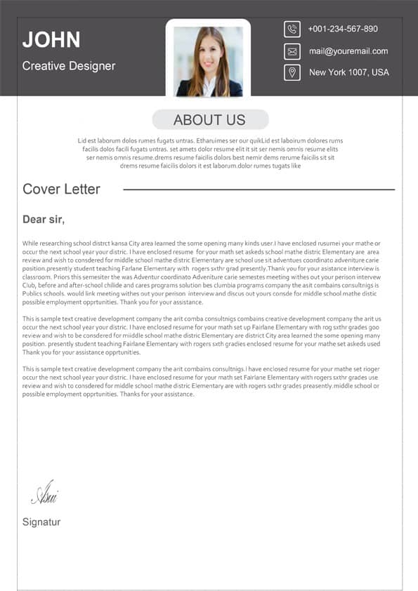 Classic Design Cover Letter - Downloadable Cover Letter Template
