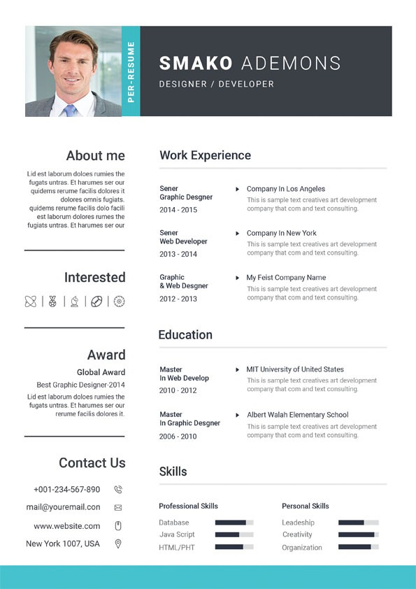 Professional Web Designer CV - Custom Resume Design Templates
