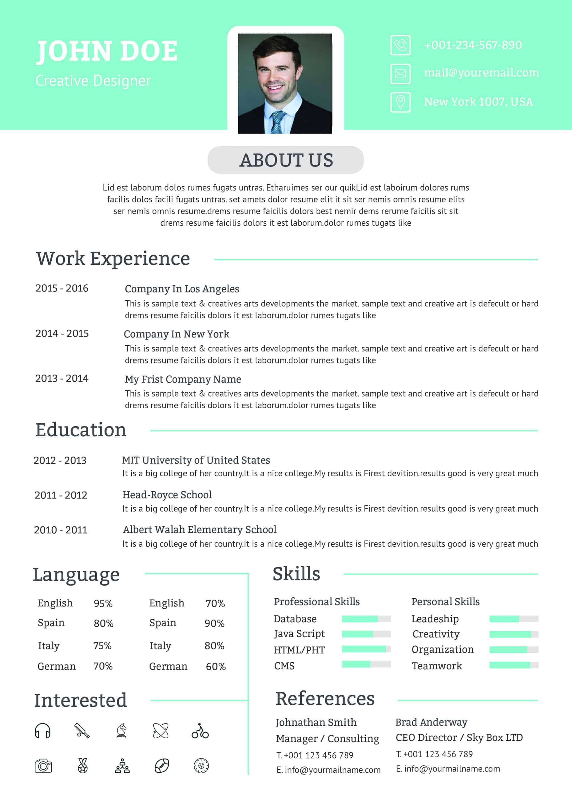 totally free resume template download