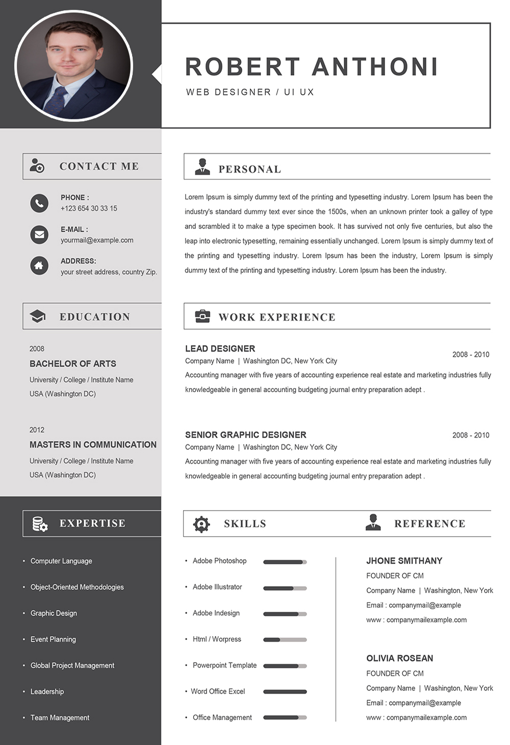 Computer Resume Template Word Format To Download Downloadable Cv