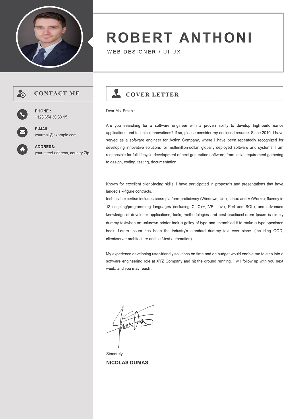 Computer Cover Letter Word Format Template Download Cover Letter