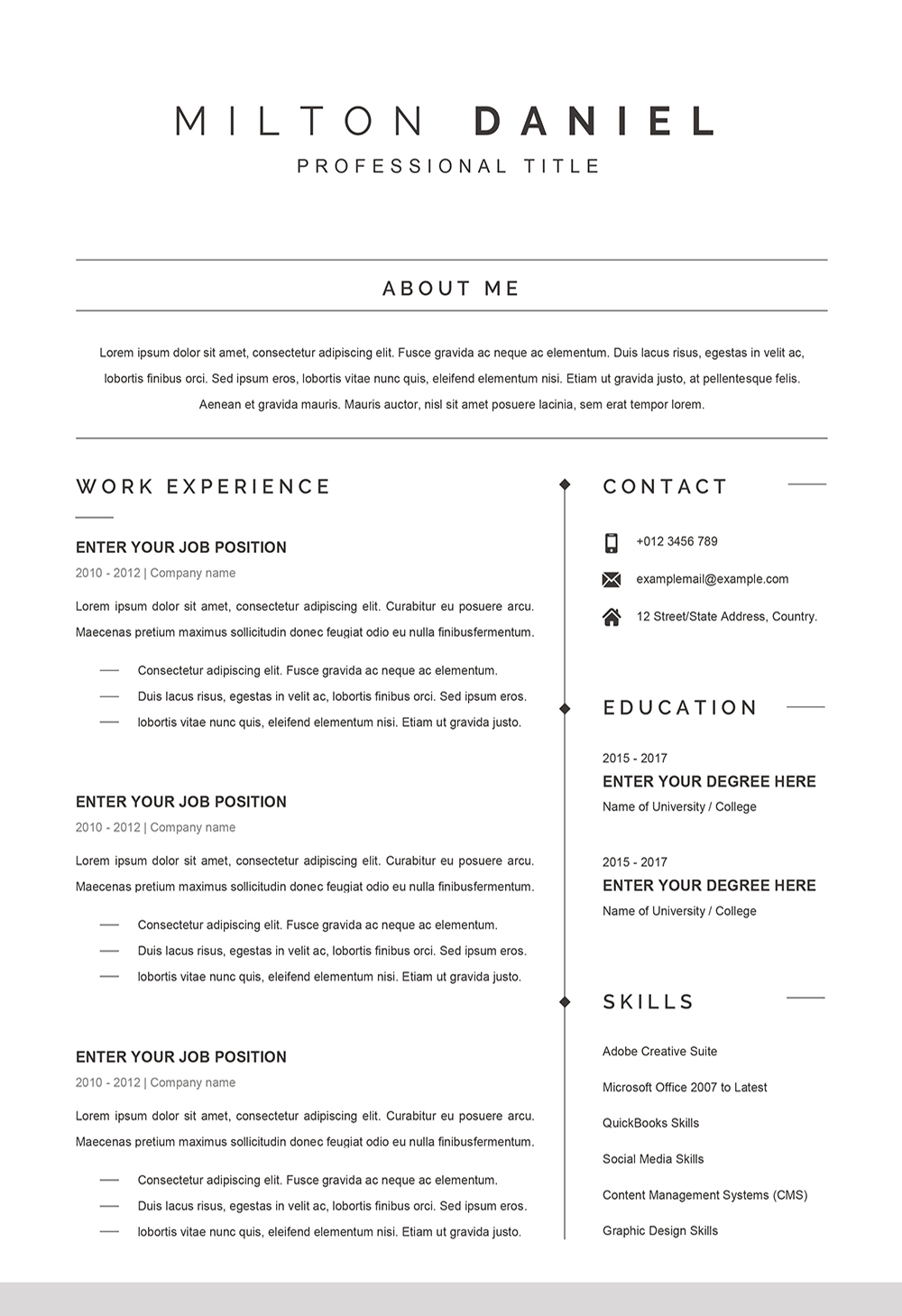 Professional Word Cv Template Cv Sample For Word