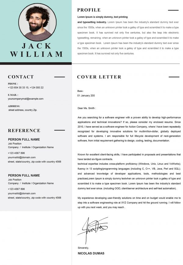 Modern Infographic Cover Letter Template