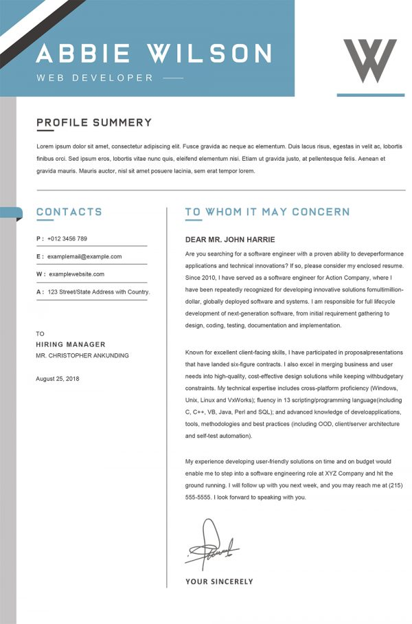 Material Design Cover Letter Word Template