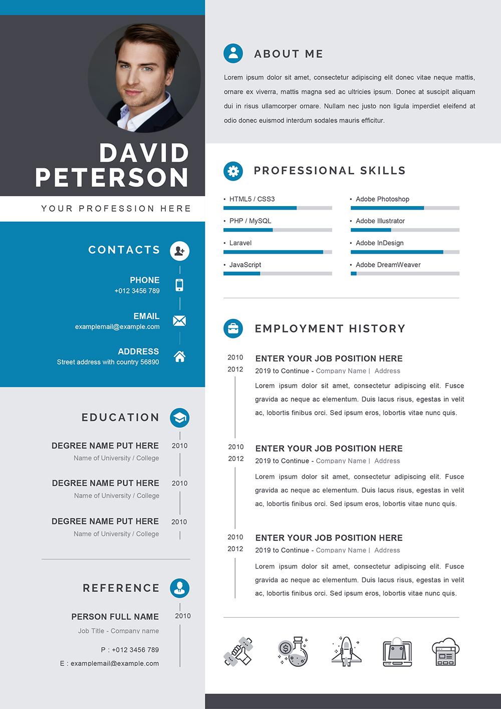 Professional CV Template in Word Format - Editable CV Word