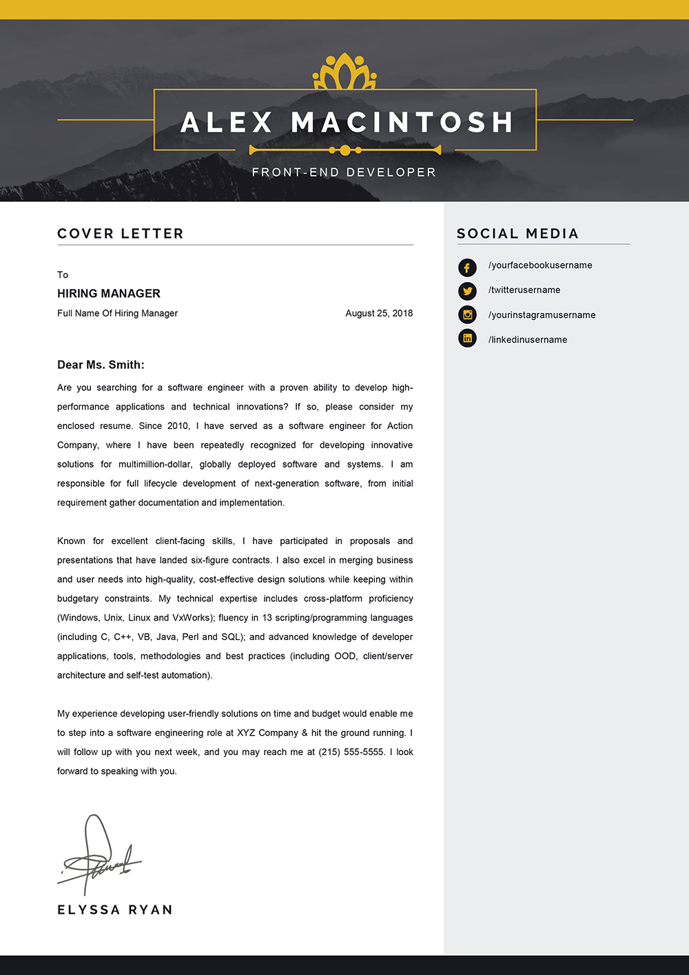 Word Template For Cover Letter from www.mycvstore.com