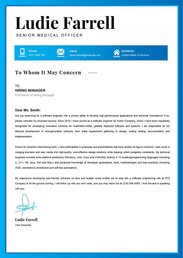 Senior Medical Officer Cover Letter Example in Word