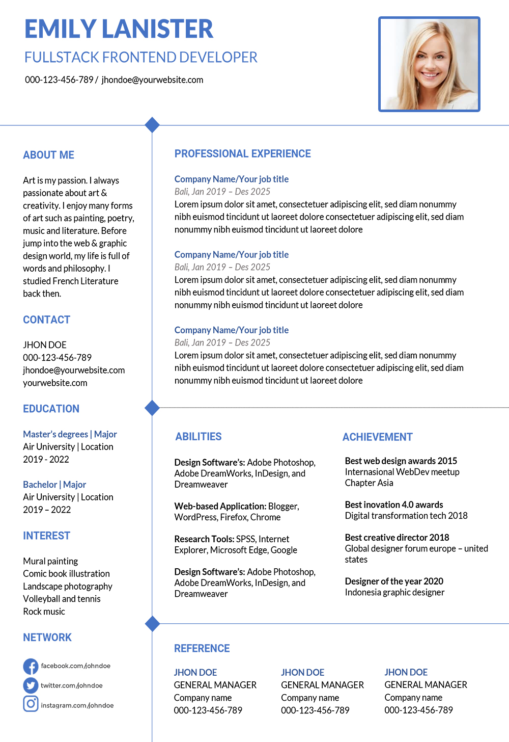 clean word resume template download professional design word format