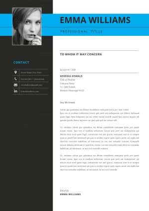 Creative Cover Letter Template Two Column