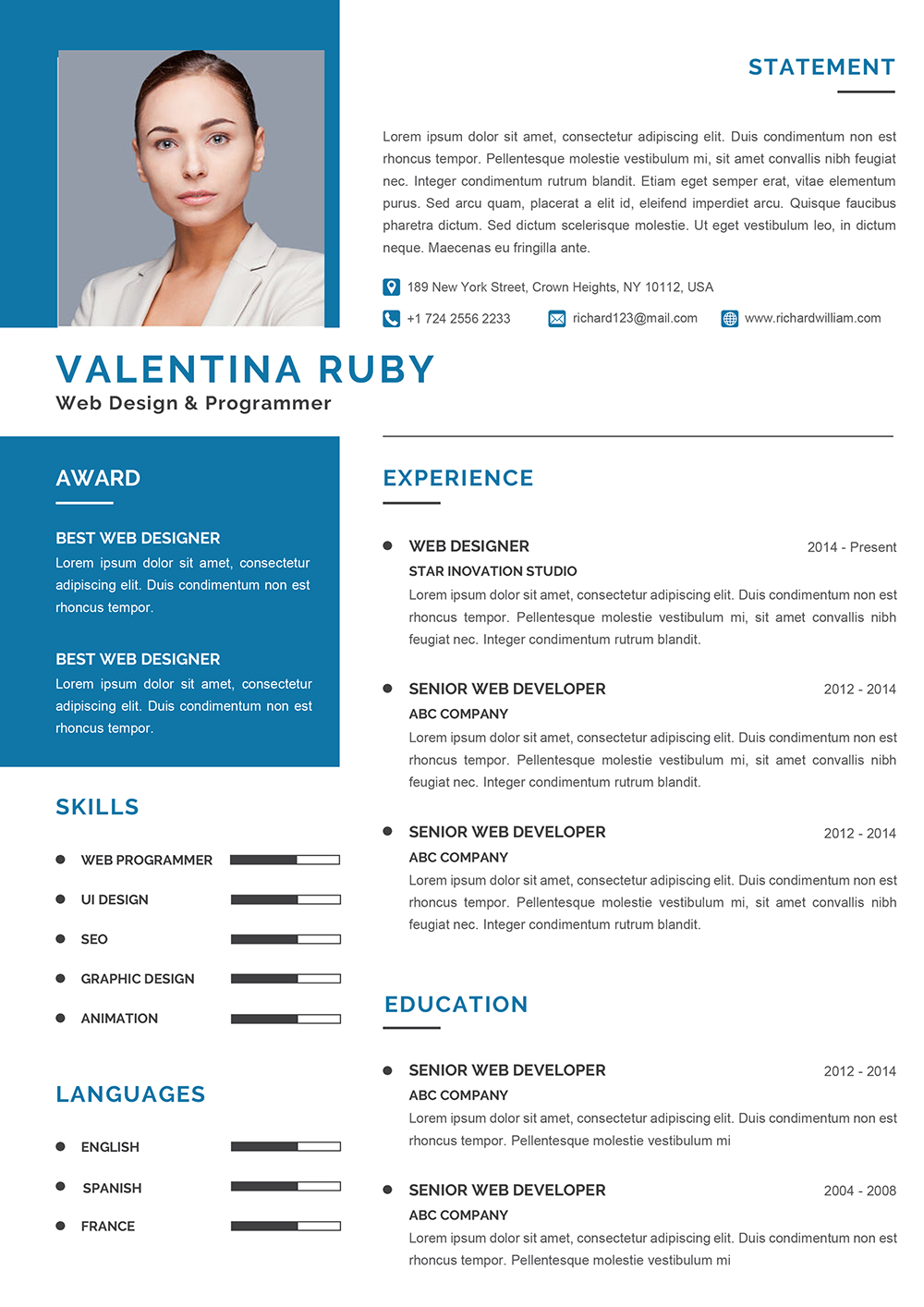 Engineer CV Design Template to download Word format (DOC/DOCX)
