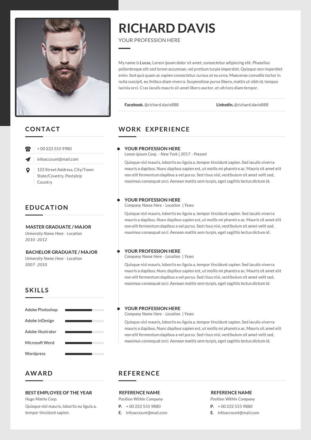 English Resume Template to Download Word Format   English CV