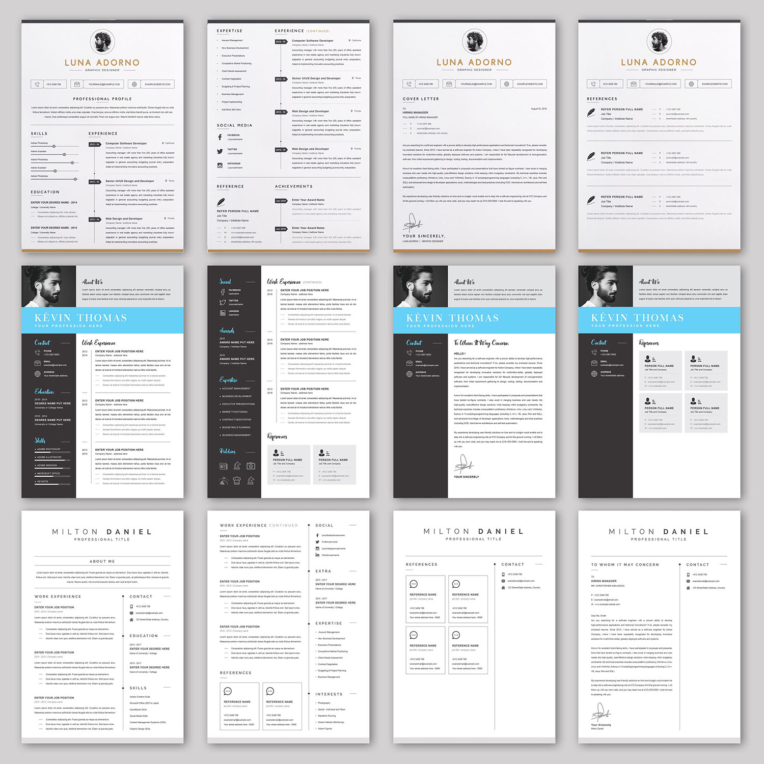 20 RESUME/CV/Cover Letter Template Bundle Microsoft Word Format 6