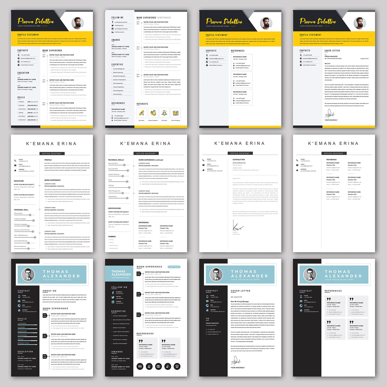 20 RESUME/CV/Cover Letter Template Bundle Microsoft Word Format 5