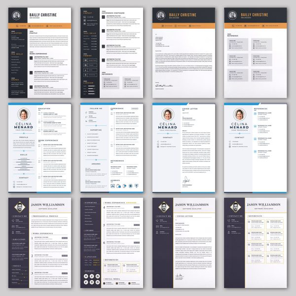 20 RESUME/CV/Cover Letter Template Bundle Microsoft Word Format 3