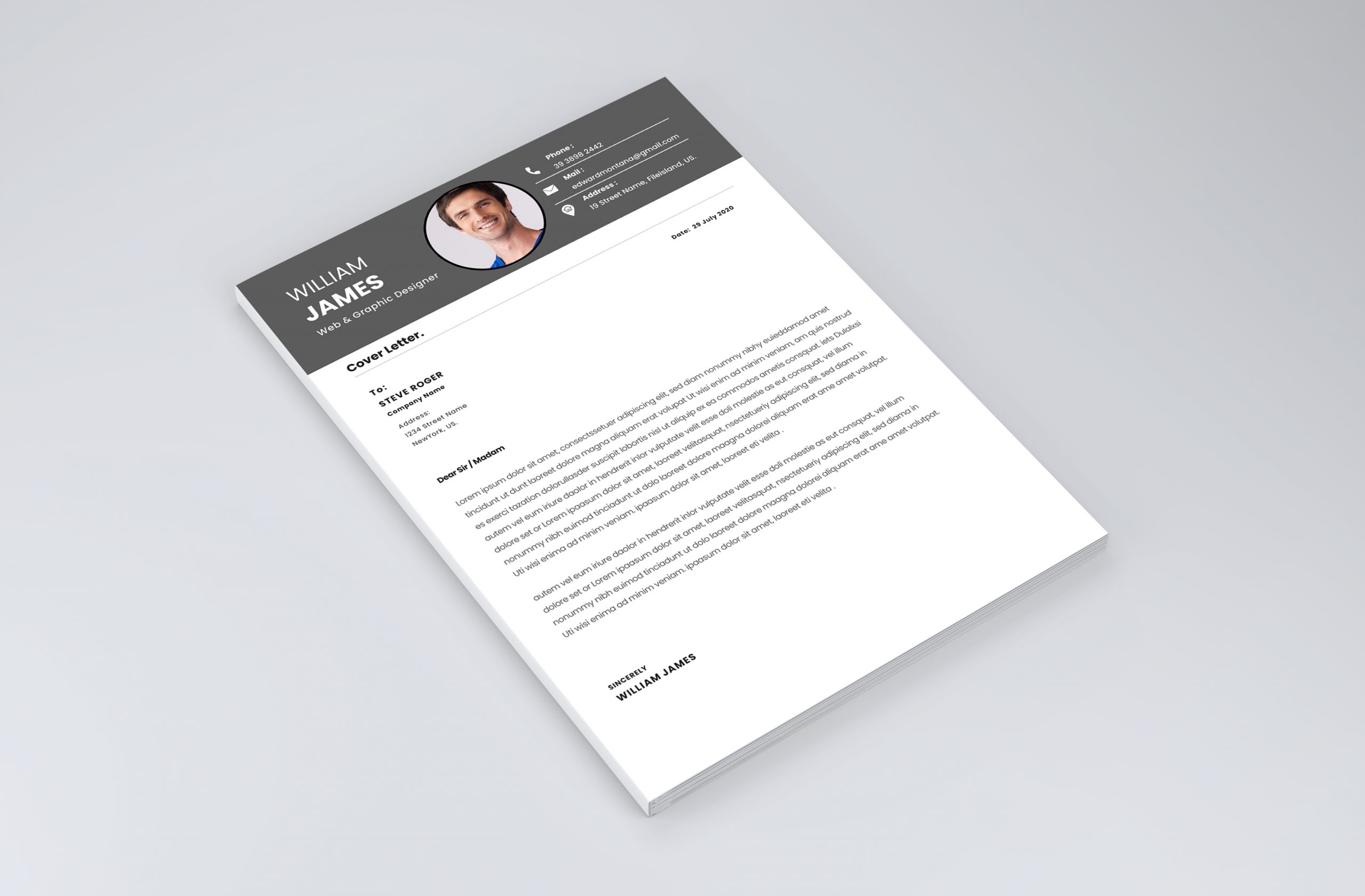 Professional Clean Cover Letter Template