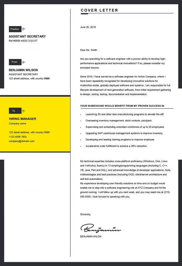 Clean Professional Word Cover Letter