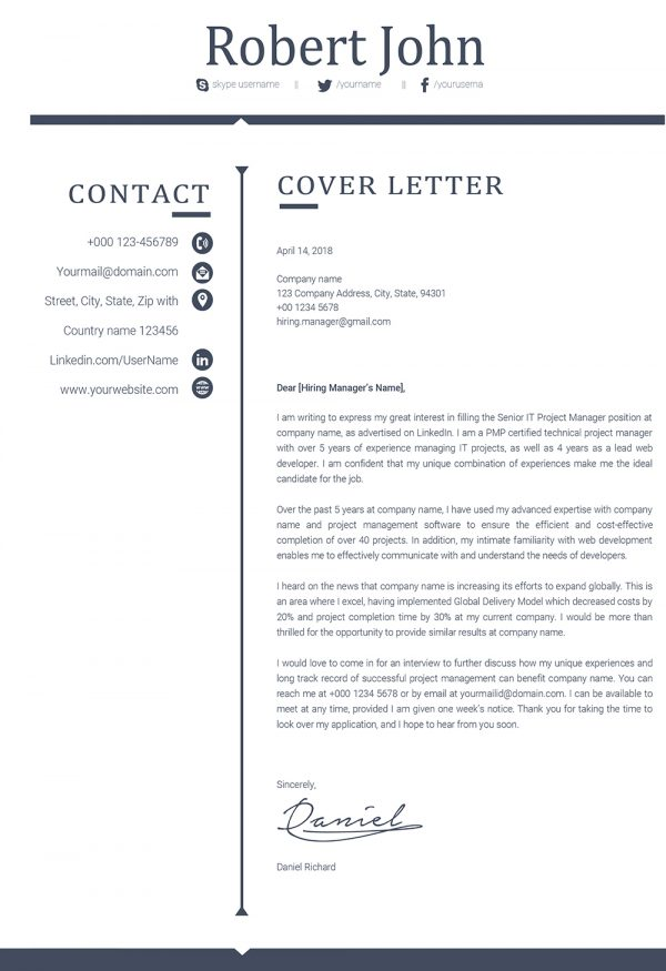Modern Professional Cover Letter Word