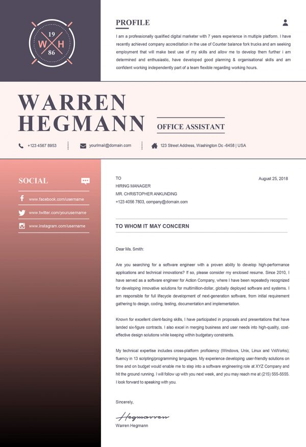 New Creative Cover Letter Template